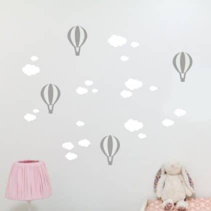 Balónikové a Mrákov samolepky na stenu Biela-Sivá