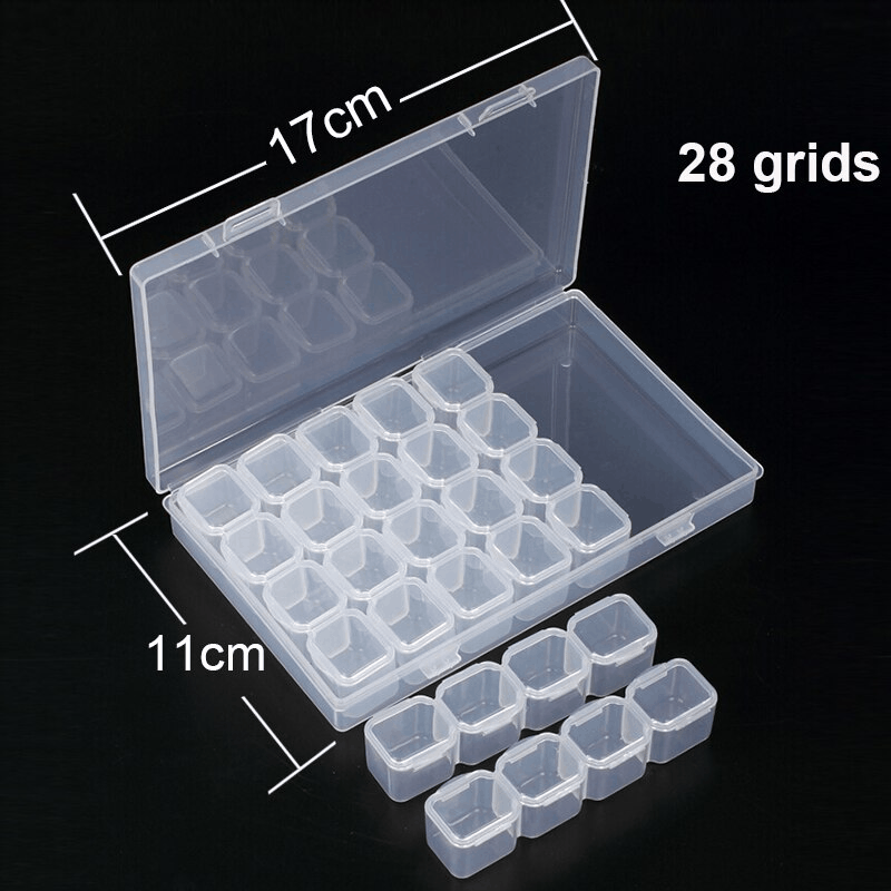 Úložný box s 28 priehradkami na diamanty